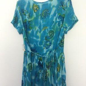 Blue flows dress